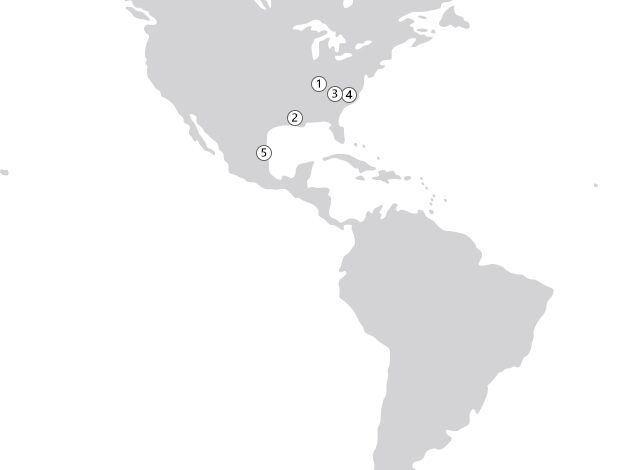 Location Map of Raw Materials Plants (Americas)