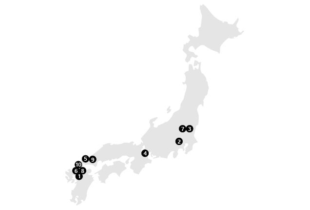 Location Map of Tire Plants (Japan)
